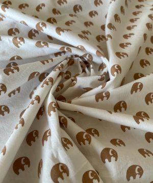 Popeline imprimés éléphants indiens marrons
